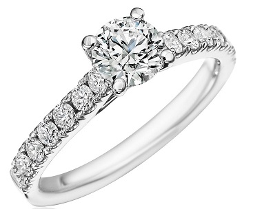 cathedral setting diamond engagement ring