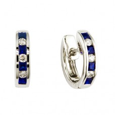 white gold, sapphire and diamond huggie hoops