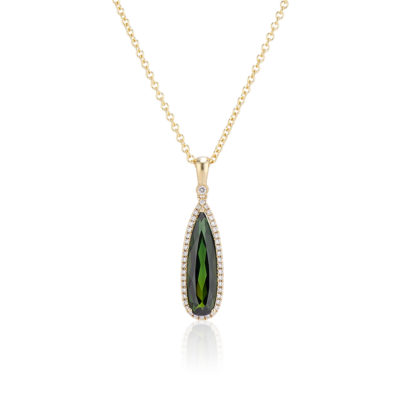 pear shaped green tourmaline pendant