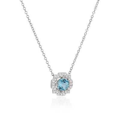 Aquamarine and Diamond necklace side view