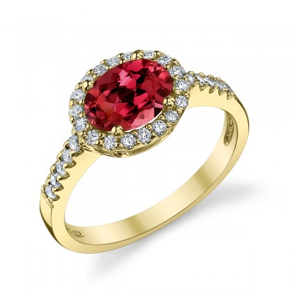 Ruby and Diamond Halo ring yellow gold 120653