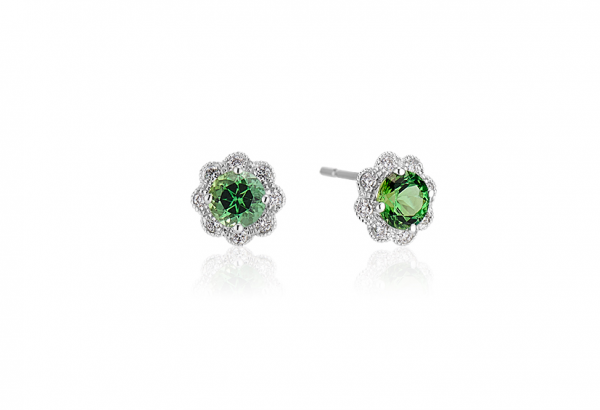Chrome Green Tourmaline earrings with diamonds in white gold