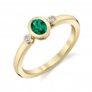 oval emerald and diamond petite bezels ring