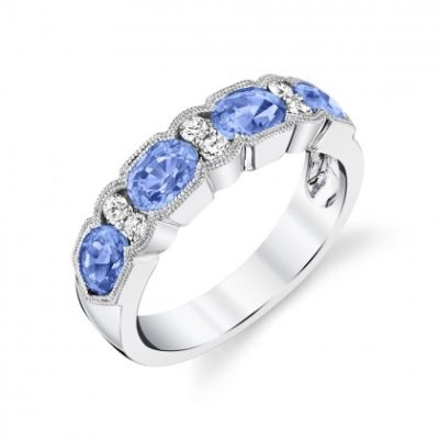 Denim blue sapphire and diamond band