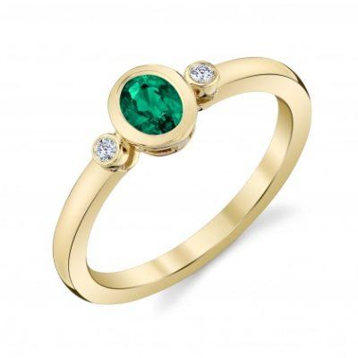 Emerald and diamond bezel ring