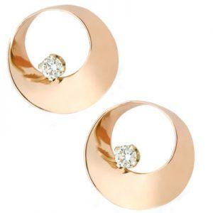 Mobius Twist Diamond earrings Rose gold 10.5mm