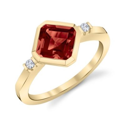 Off Set Octagonal Stepcut Garnet ring