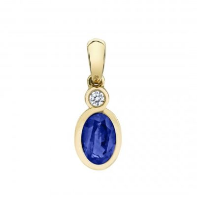 Oval Bezel pendant with Sapphire and diamond in yellow
