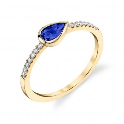Petite Pear shape blue sapphire and diamond band