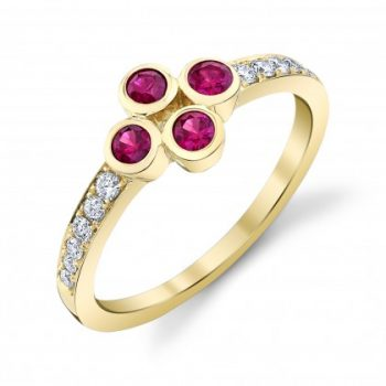 Ruby cluster with diamond band