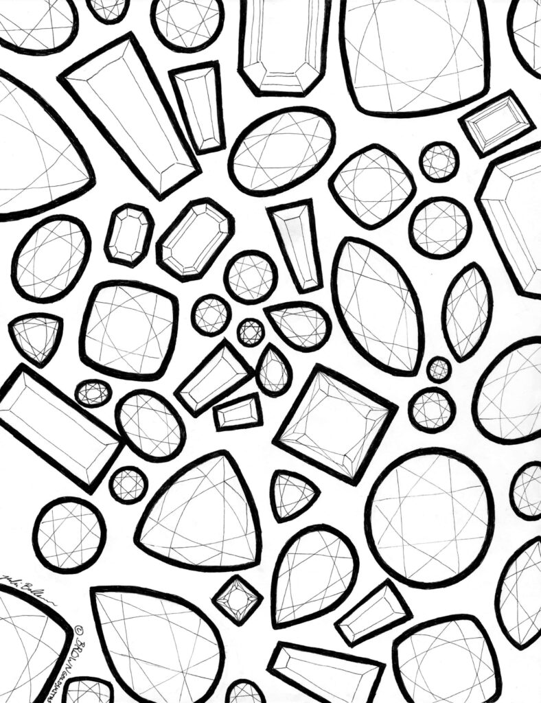Gemstone Shapes Coloring Page