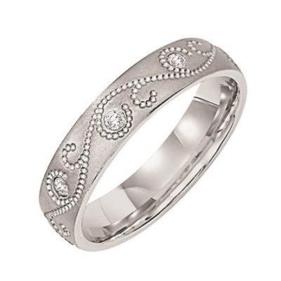 Engraved Band With Diamond Accents
