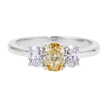 010487 - Natural Yellow Oval Diamond Trio Ring