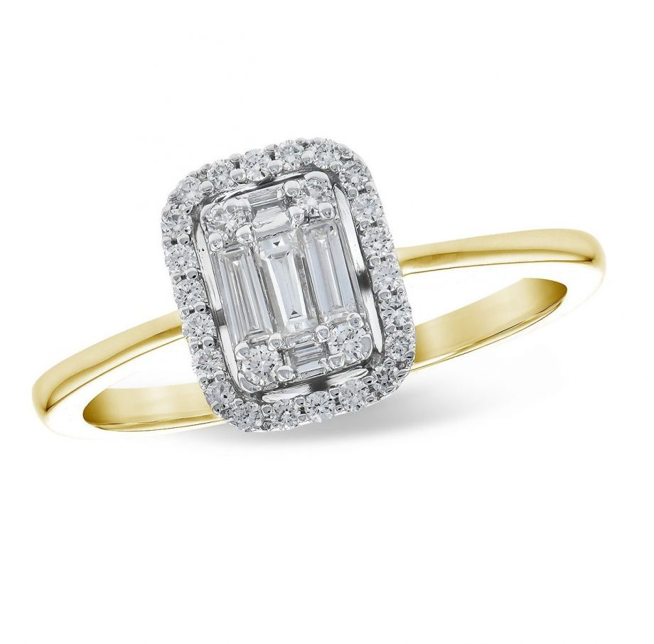 010540 - Diamond Halo Illusion Ring