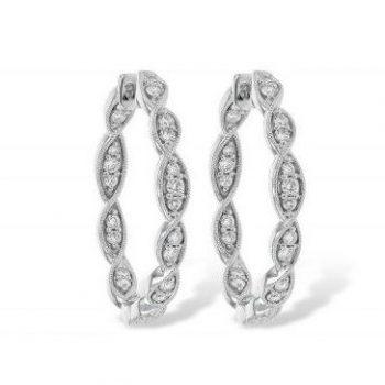 091427 - Vintage Diamond Hoops