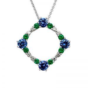 Precious Gem 14K White Gold Tri Necklace