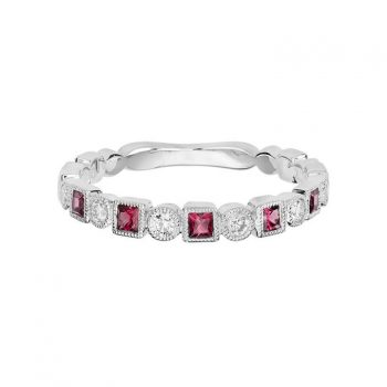 Pink Tourmaline Stackable Diamond Ring