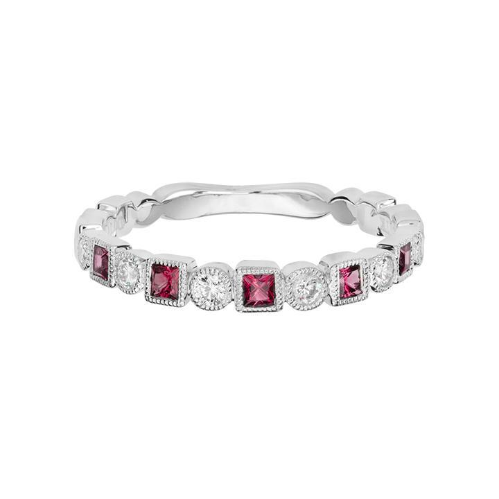 Pink Tourmaline Stackable Diamond Ring