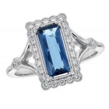 170565 - Rectangular Topaz Vintage Style Ring