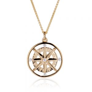 Compass Rose 5 diamond pendant in yellow gold