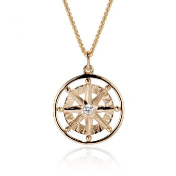 Compass rose large pendant with one diamond and frame