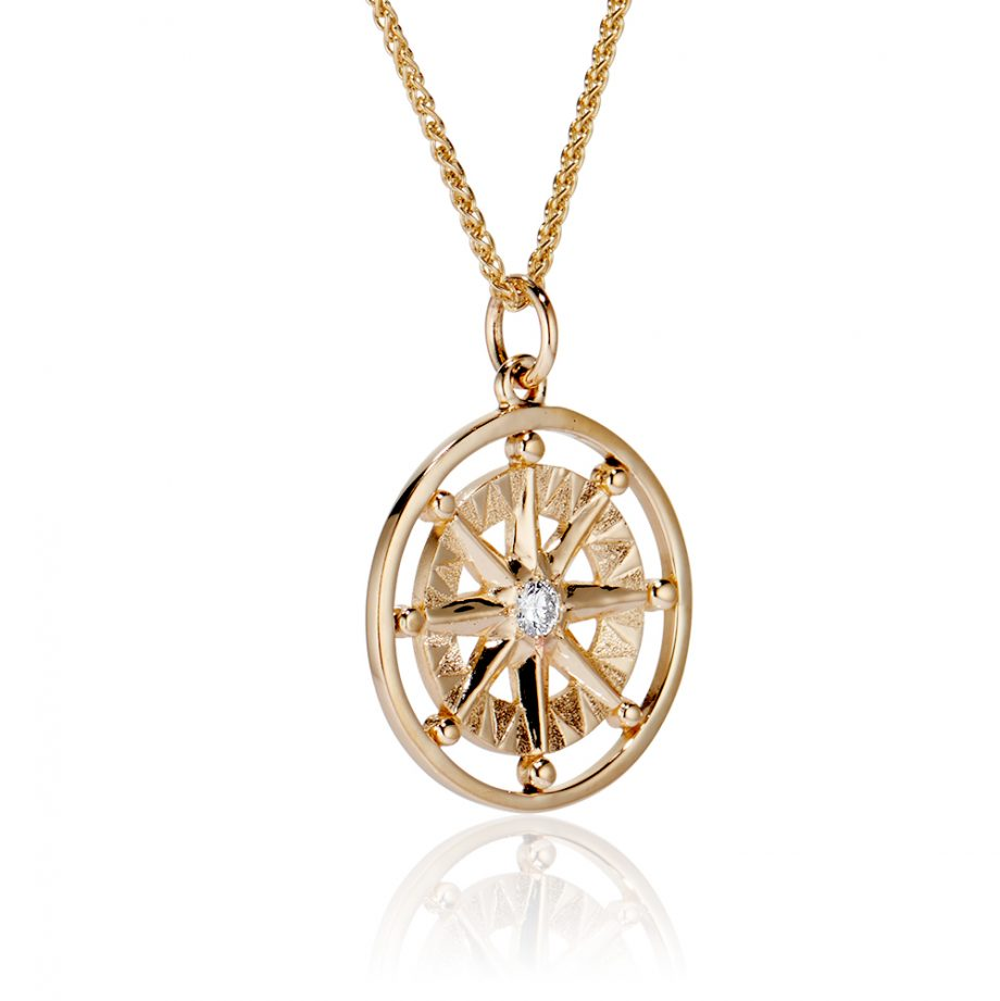 Compass rose large pendant one diamond and frame_101172 side view