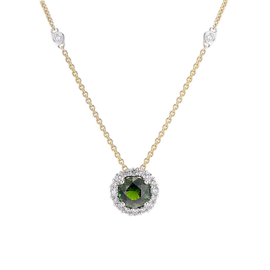 tourmaline necklace with diamonds