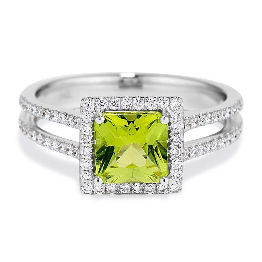 princess cut peridot and diamond halo ring