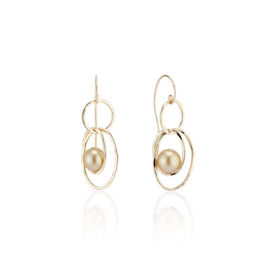 golden pearl dangle earrings