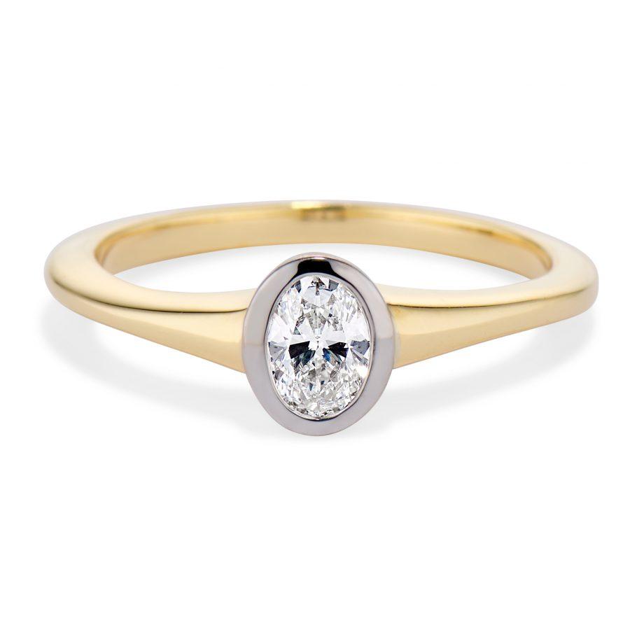 oval diamond two tone ring