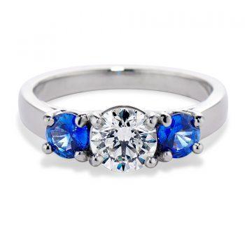 three stone diamond and sapphire ring