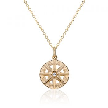 Diamond Yellow Gold Compass