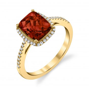 Cushion Cut Garnet with checkerboad facets Milgrain halo and diamond band160519