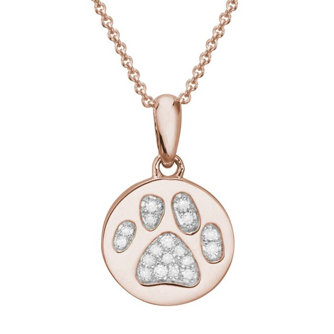 Rose Gold and diamond paw print pendant charm