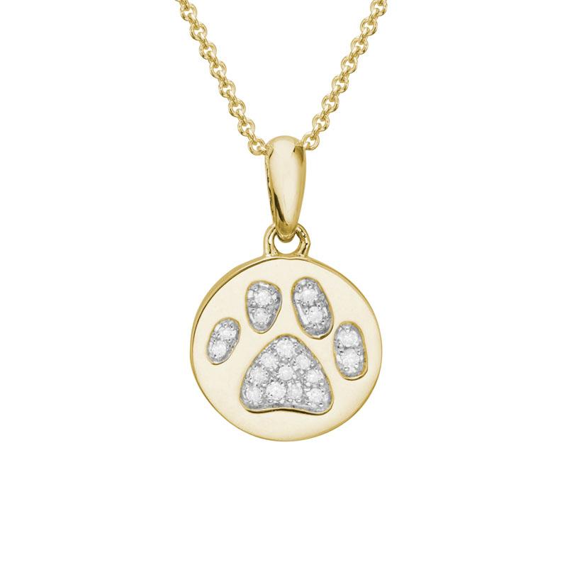 Yellow Gold and diamond paw print pendant charm