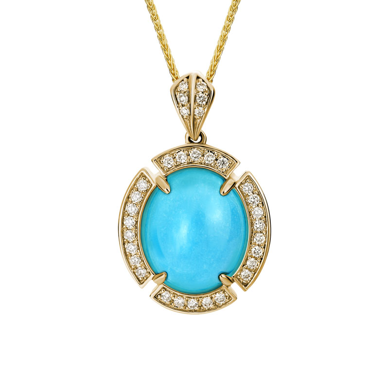 Turquise and Diamond Necklace yellow gold