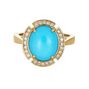 Turquise and Diamond Ring yellow gold 393674