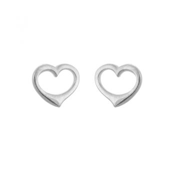 Open Heart Sterling Silver Stud Earrings 265652