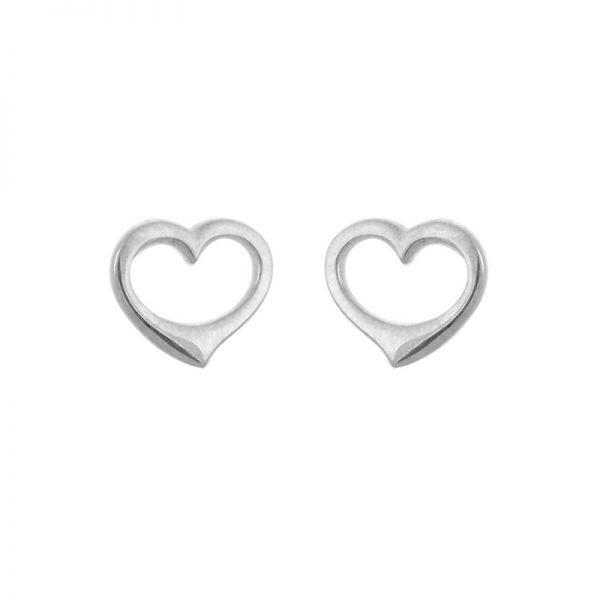 Open Heart Sterling Silver Stud Earrings 265652
