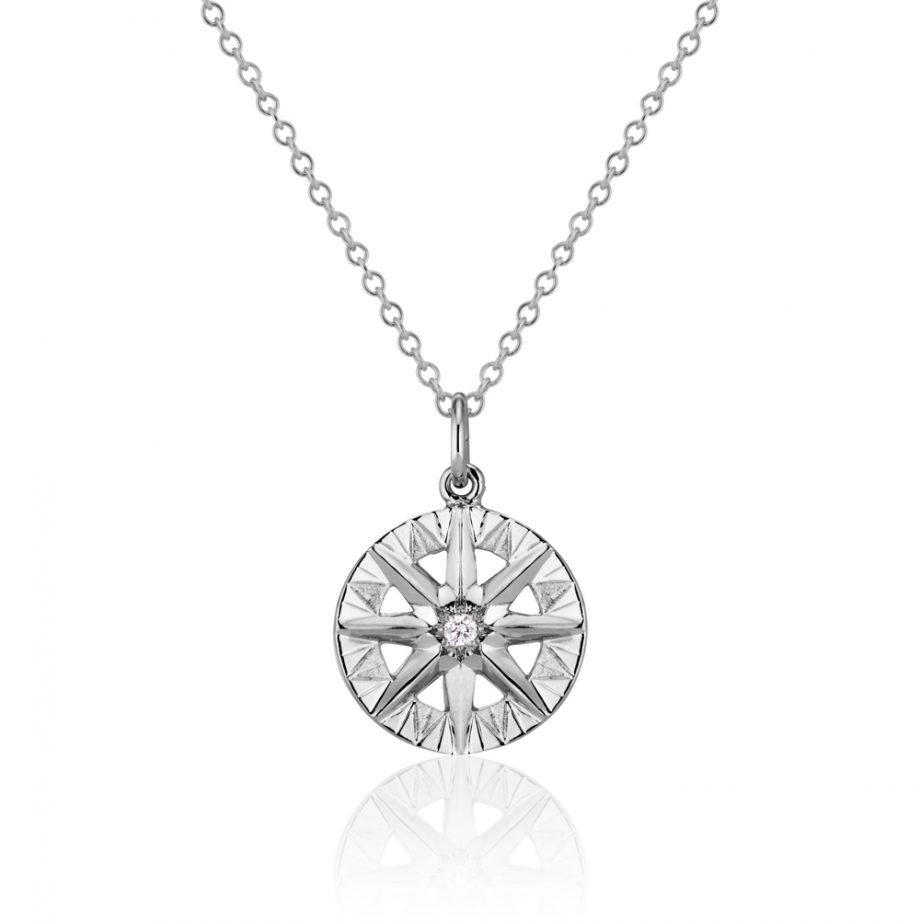 Diamond White Gold Compass