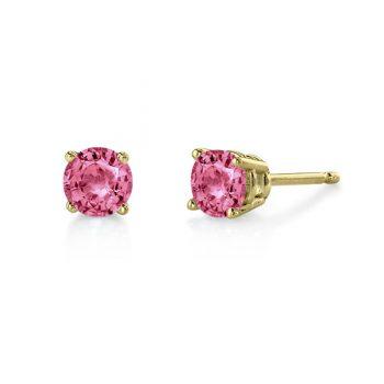 Pink tourmaline 5.5mm round stud earrings 14k yellow gold