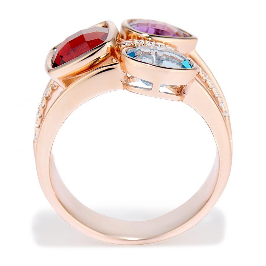 Three Gemstone Ring in Rose Gold