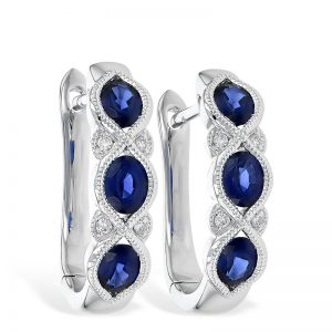 Sapphire earrings huggie hoops 14k white gold 393668 e2077