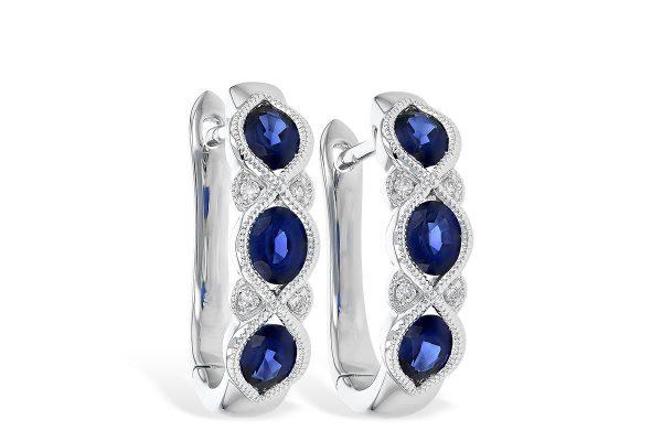 Sapphire earrings huggie hoops 14k white gold 393668 e2077