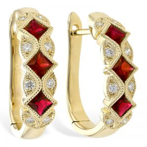 Ruby hoops with diamonds in 14k yellow gold 393667 e2087