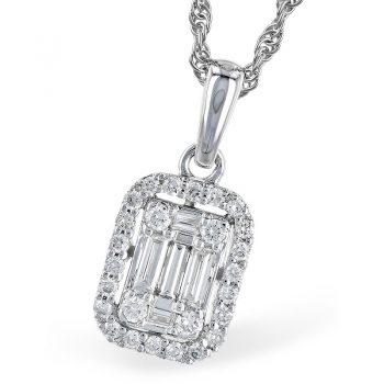 Diamond Pendant necklace illusion style 14k white gold