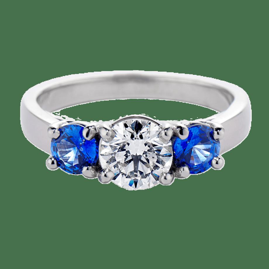 010539 - Three Stone Diamond And Sapphire Ring