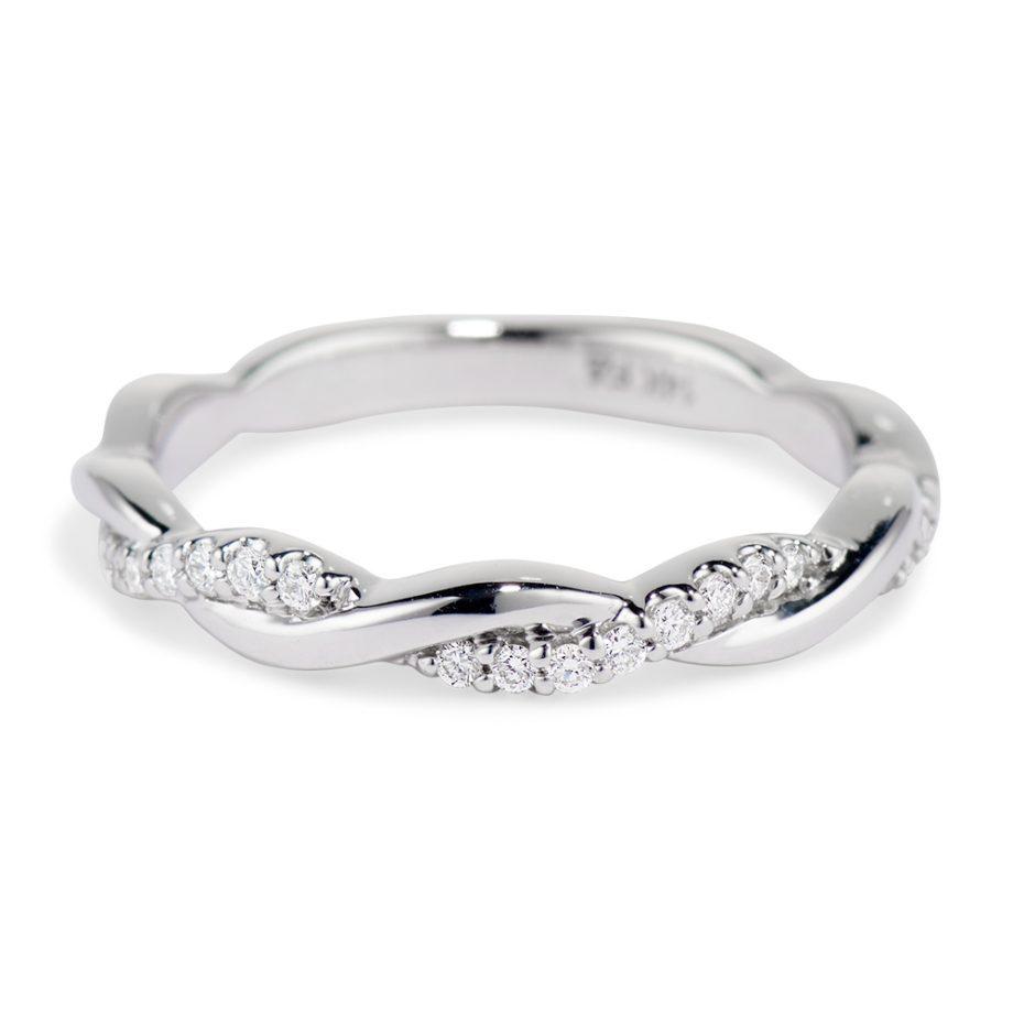 woven diamond wedding band