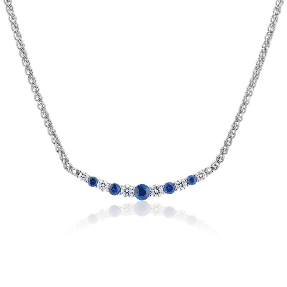 sapphire and diamond smile necklace