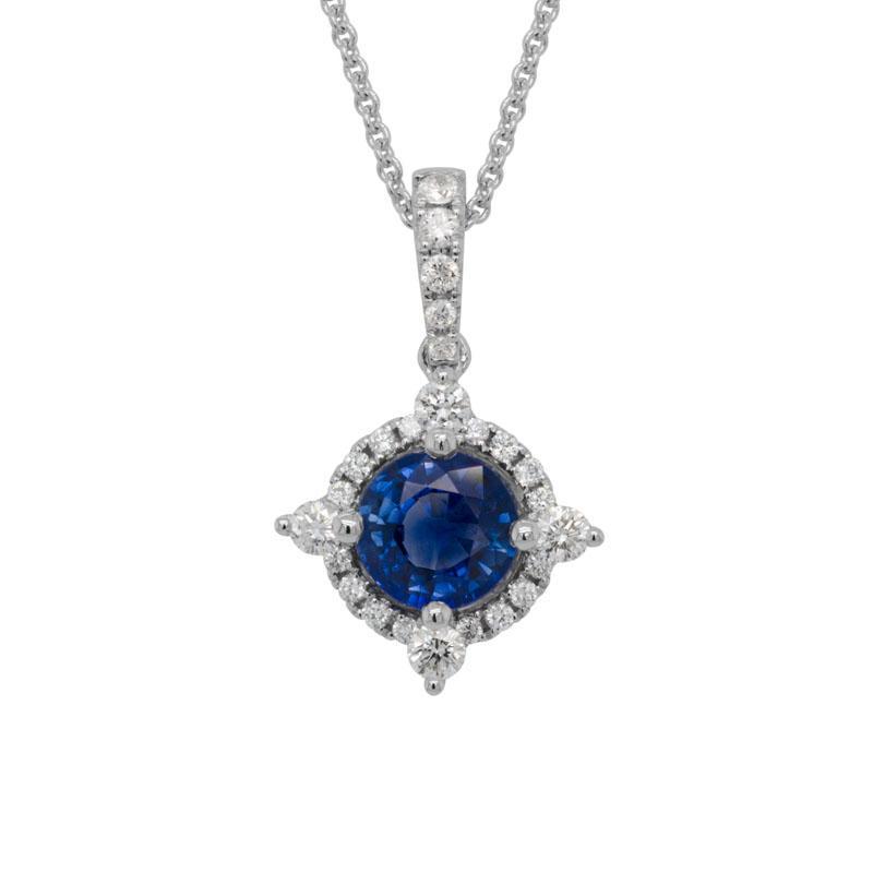 Sapphire and Diamond Point Halo Pendant